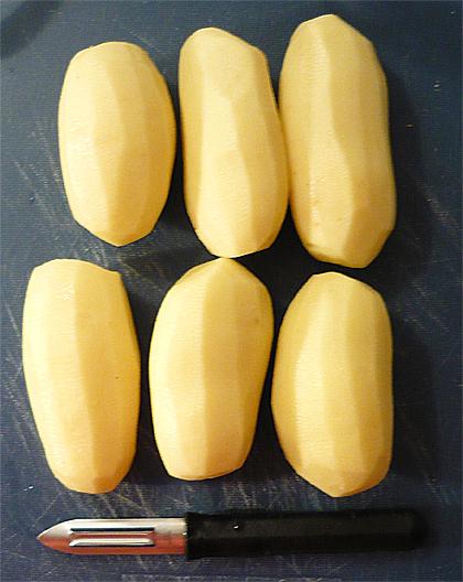 Große Kartoffeln geschält