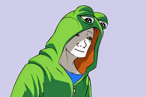 feels guy wearing a sad frog pepe hoodie