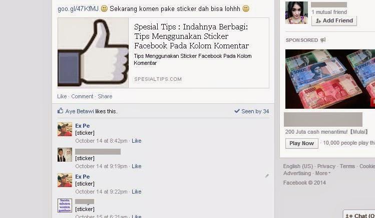 Tampilan Unsticker Me Pada Facebook