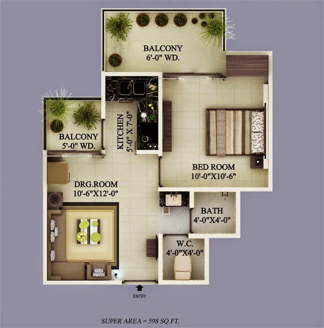 Ecovillage Noida Extension :: Floor Plans 1 BHK