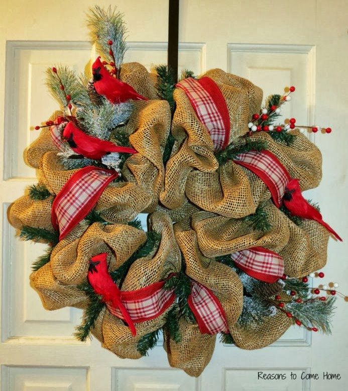 Deco mesh reasons to come home for How to decorate a burlap wreath for christmas