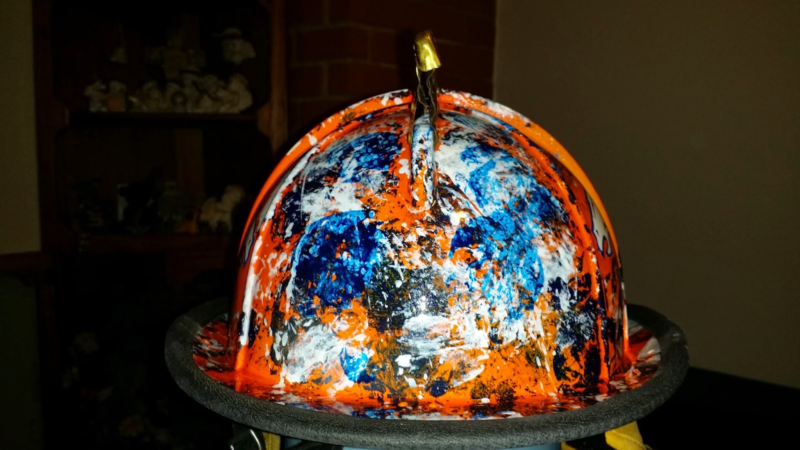 front of fire helmet, denver broncos theme