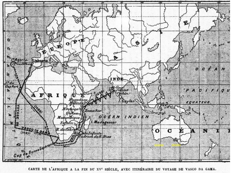 Carte de l'Afrique 15 siècle avec itinéraire du voyage de Vasco de Gama