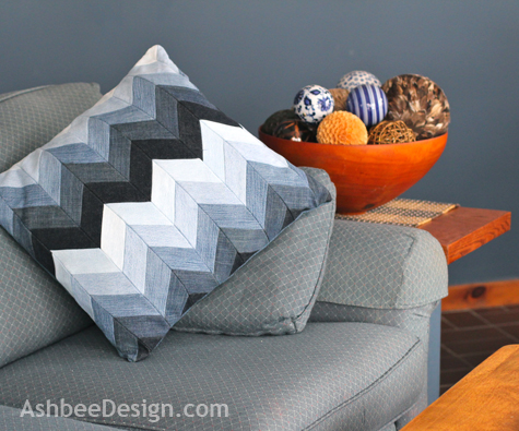 I Have A New Pillow Made By Me That Combines Chevron Stripes, Ombre Color  Gradation And Old Jeans All Into One! Talk About Mixing Trends!