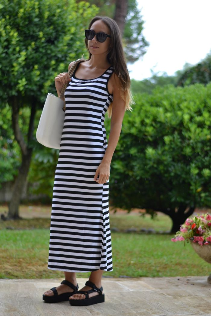 maxi dress righe