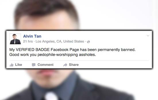 Page Facebook Kena Banned, Alvin Tan Meroyan