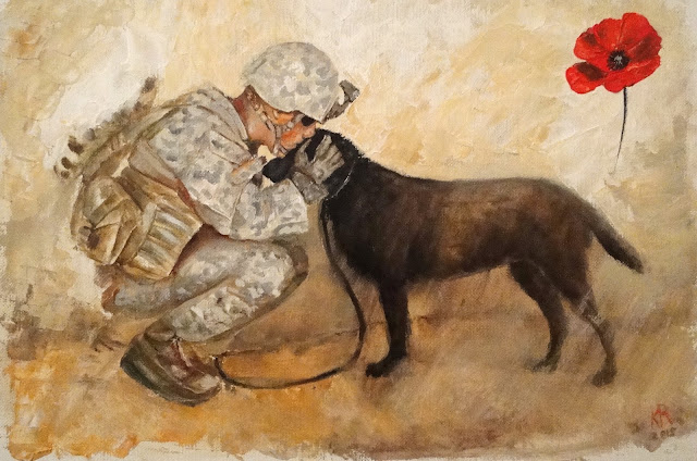 Remembrance Day,  Veteran's Day, oil painting of soldier with dog