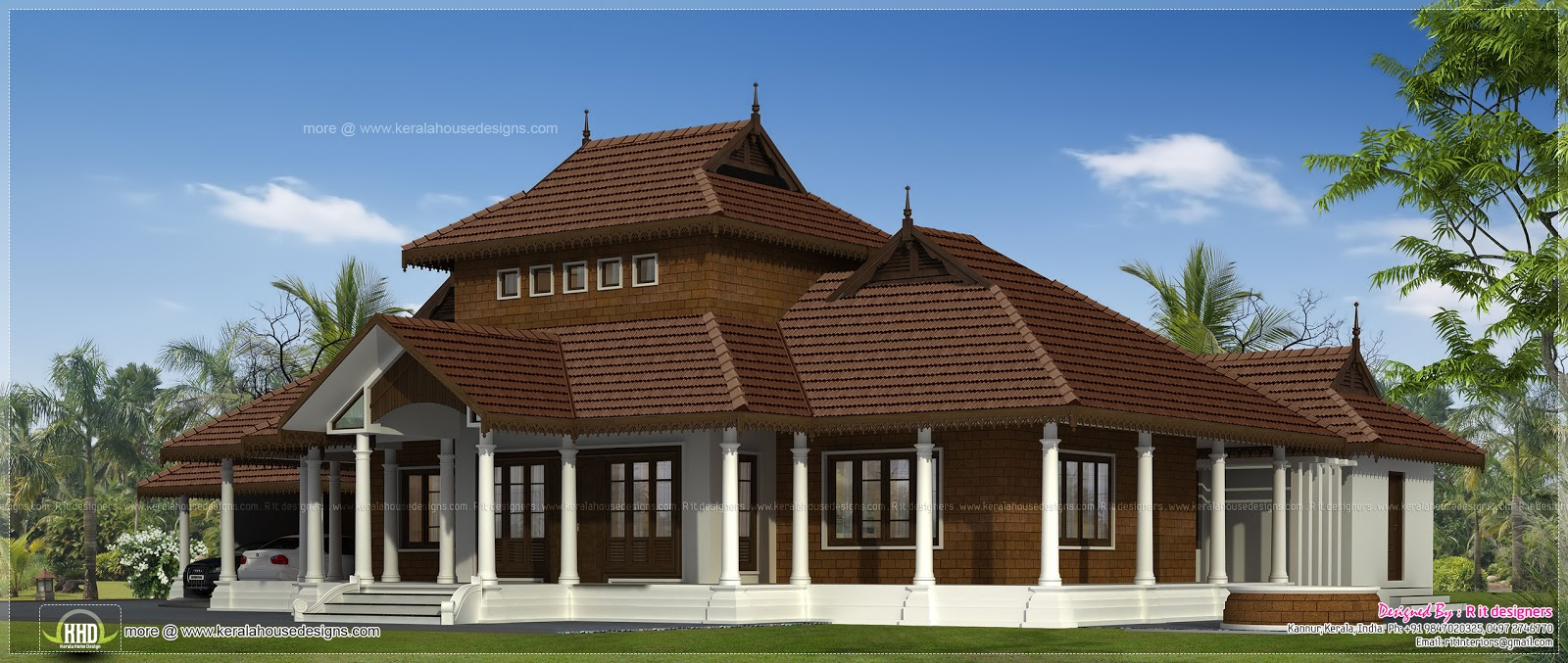 Traditional kerala villa exterior in 3070 sq ft home for Villa plans in kerala