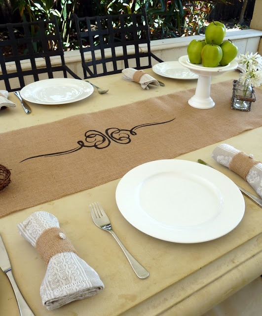 28 table settings with burlap yellow white and burlap table