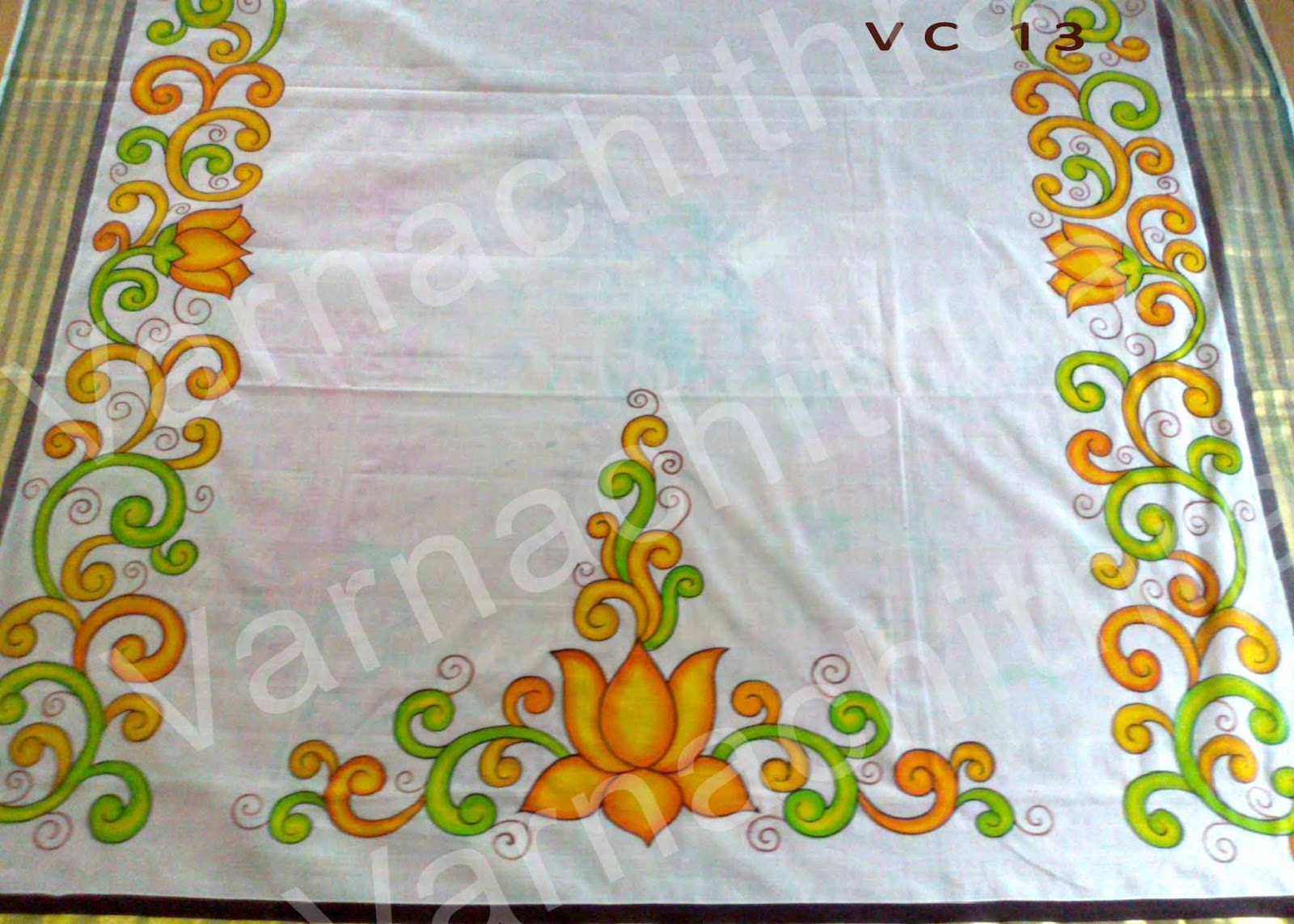 Fabric Painting Designs On Kerala Sarees