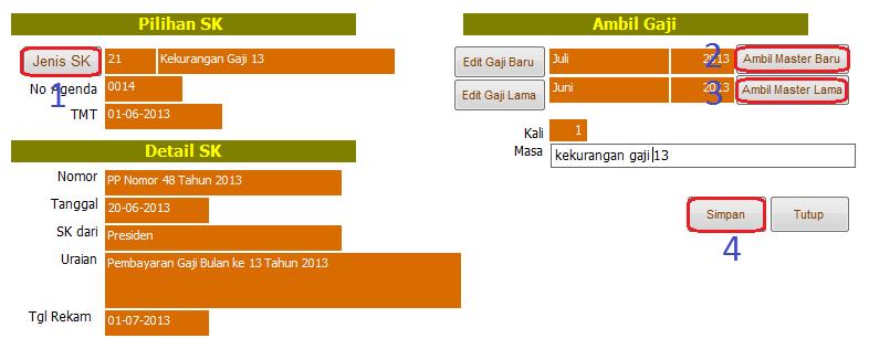 TIPS] Cara Membuat Kekurangan Gaji 13 Tahun 2013 di Aplikasi GPP 2013