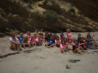 Aloha Beach Camp Keiki Camp summer camp group on the beach at Paradise Cove, Malibu