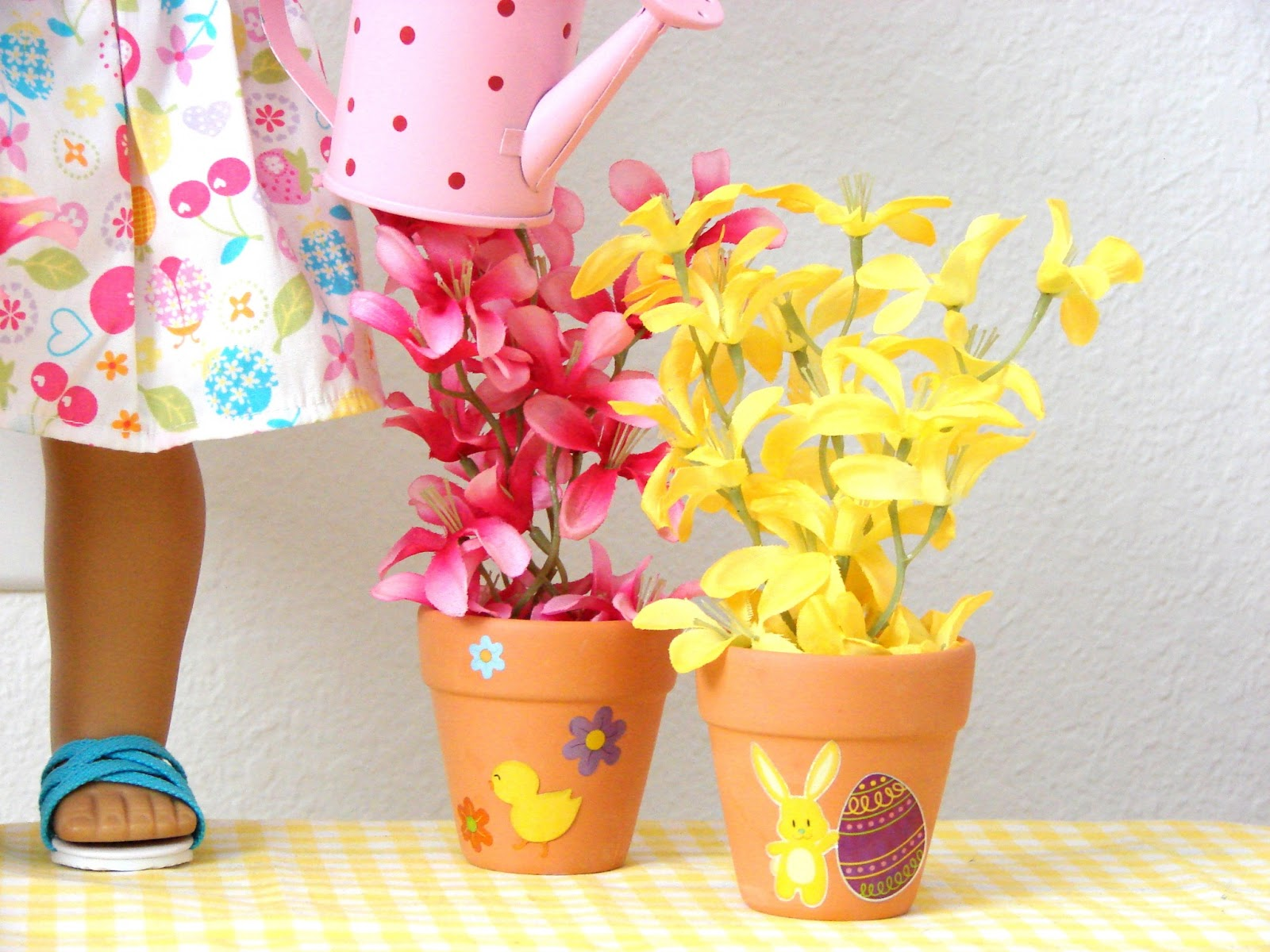 American Girl Doll Play Doll Craft Spring Potted Plants