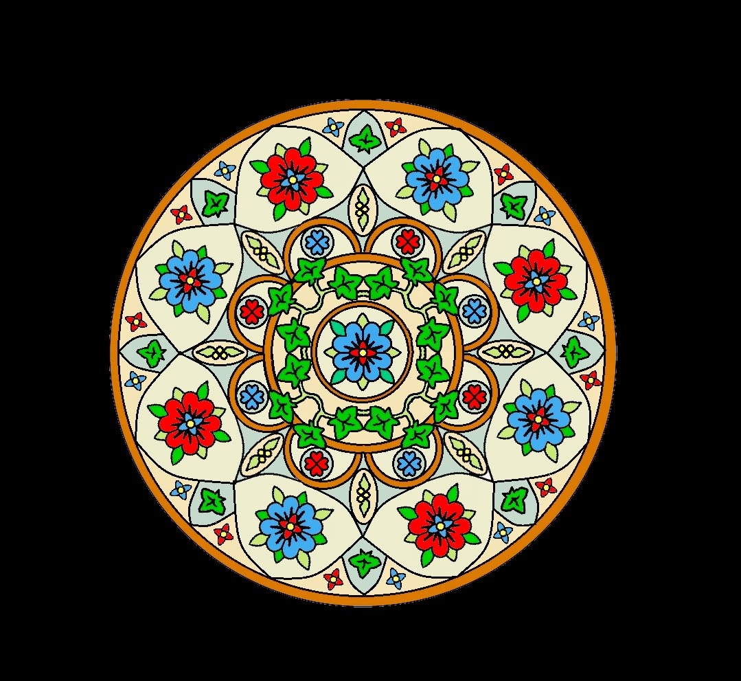 Mandala featuring blue and red roses and green ivy trail