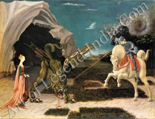 "The Great Artist Paolo Uccello Painting ""Saint George and the Dragon"" c.1455-60 22½"" x 28¾"" National Gallery, London"