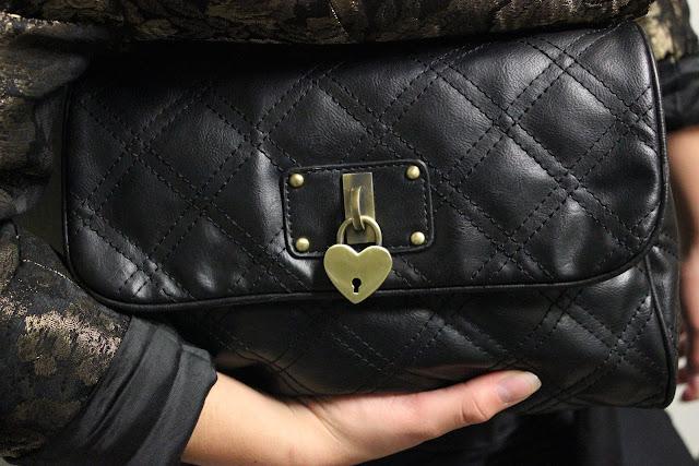 Black Clutch with Heart Locket
