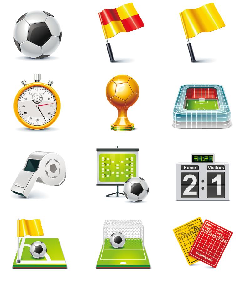 サッカー競技のアイコン デザイン Football Match Vector Icon Set イラスト素材