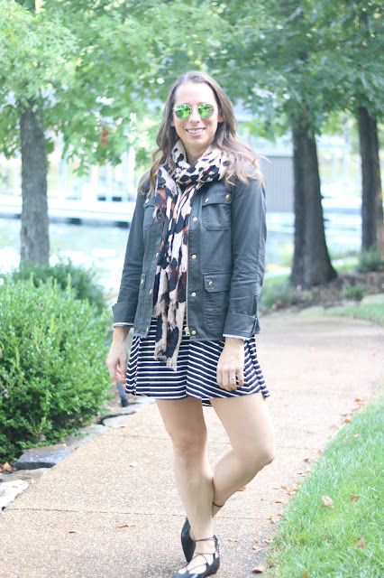 topshop ghillie lace up flats j.crew field jacket leopard scarf stripe dress ray ban round mirrored