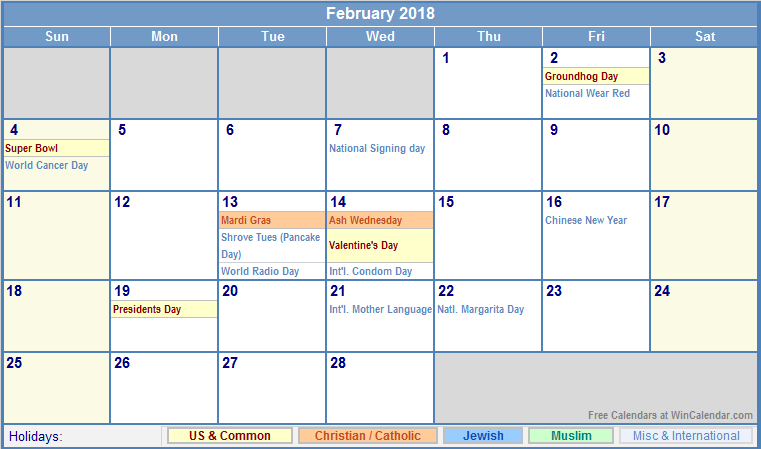 february calendar 2018 template