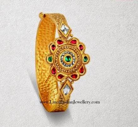 Kundan Studded Gold Kada Bracelet