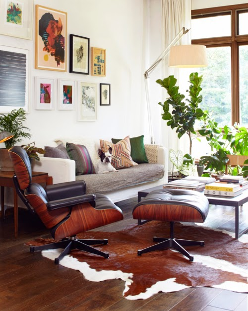 eames chair hide rug eclectic living room