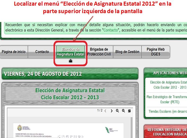 GUÍA RÁPIDA PARA ELECCIÓN DE ASIGNATURA ESTATAL 2012-2013