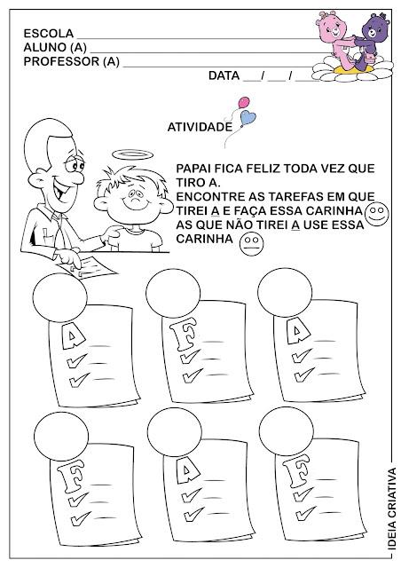 Atividade  Dia dos Pais Discriminando a letra A