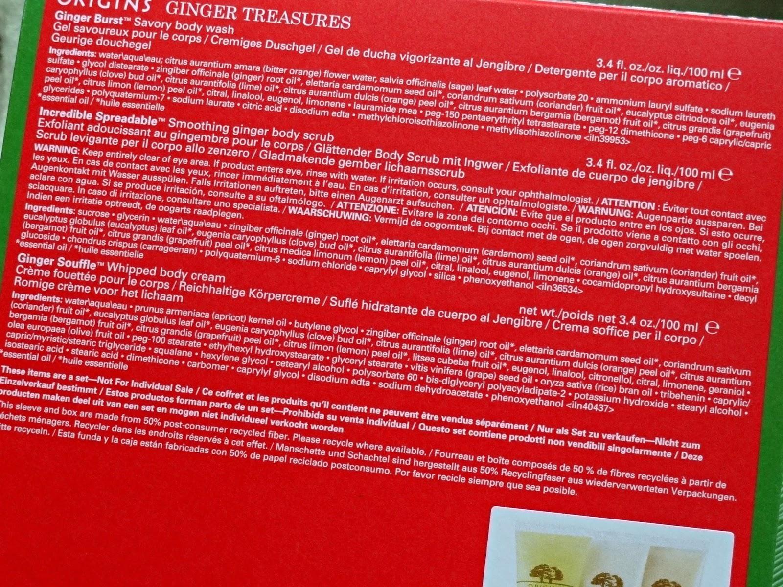Origins Ginger Treasures Bath and Body Set Ingredients