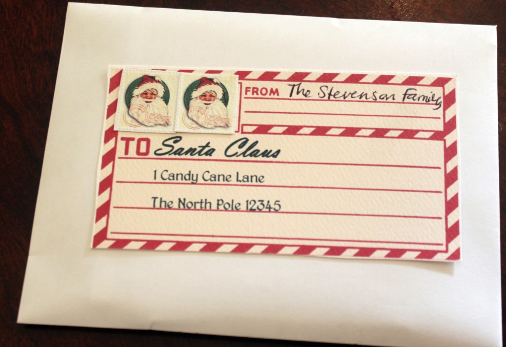 in an envelope and made sure to attach two Santa stamps (one stamp ...