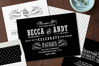 Black and White Polka Dot Wedding Invitations