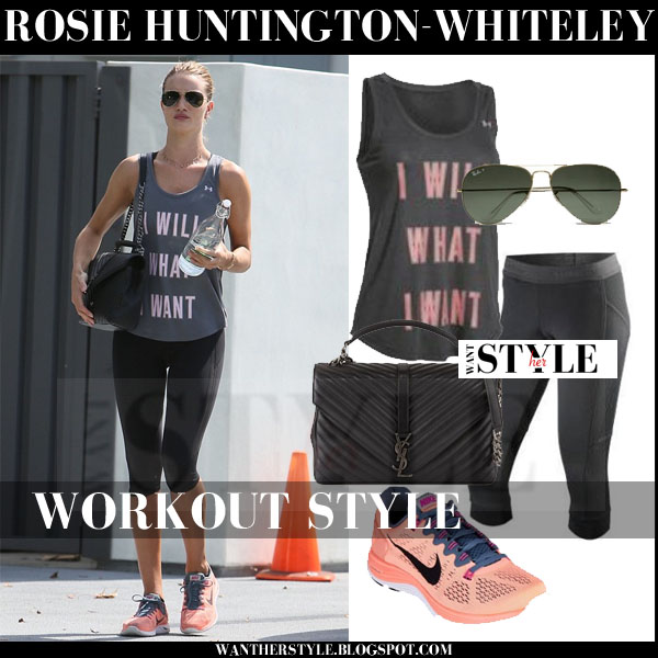 Rosie Huntington-Whiteley in grey tank under armour top, black leggings and pink nike lunarglide sneakers workout clothes what she wore