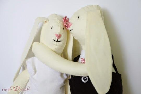 Króliki Ślubne z różowymi dodatkami