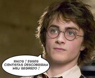"""Foto do personagem Harry Potter dizendo : """"Raios ! Esses cientistas descobriram meu segredo !"""""""