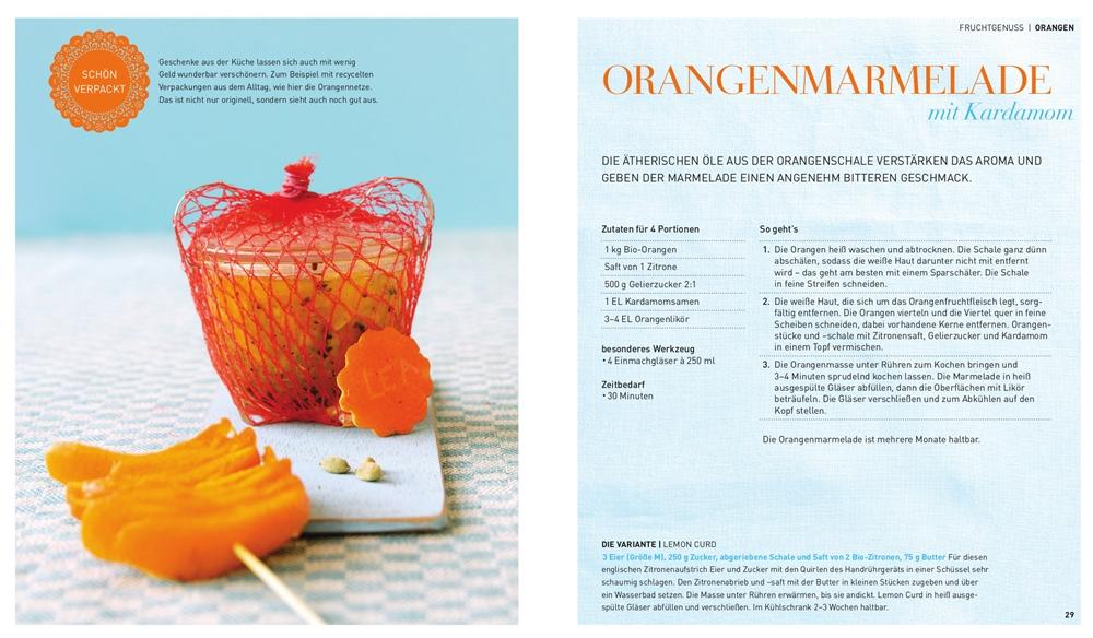 """Rezept für Orangenmarmelade mit Kardamom aus """"Selbst gemacht & mitgebrache; Geschenke aus der Küche"""""""