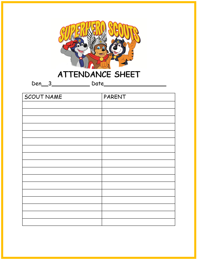 Scout Advancement Template Cub Scout Attendance Sheet - Cub Scout ...