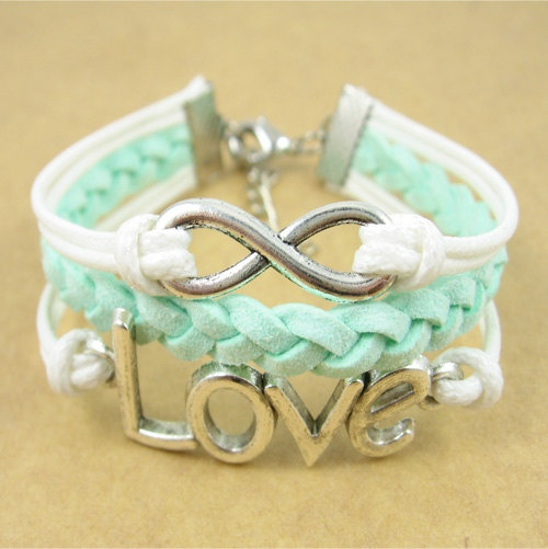 Mint Green Infinity Bracelet With Love Symbol