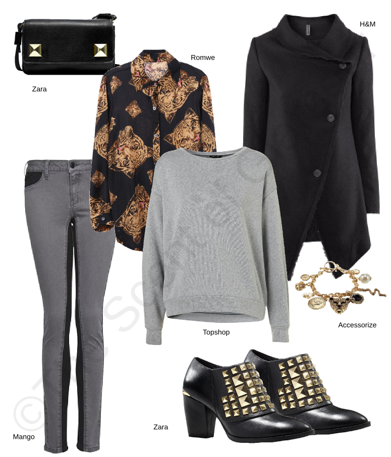 mango grey jeans, accessorize bracelet, h&m black coat, romwe shirt, topshop sweater, zara bag, zara black boots with studs