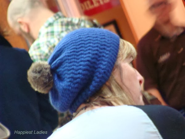 Blue knit bobble hat