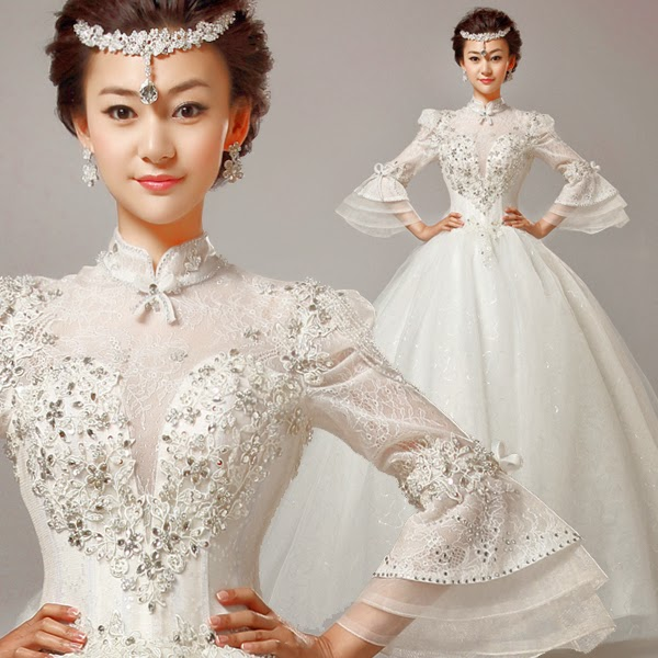 Long Butterfly Sleeves Wedding Gown :: My Gown Dress