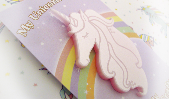 I love crafty, unicorn brooch, lucky dip box