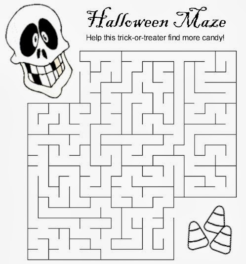 Punchy image within halloween mazes printable