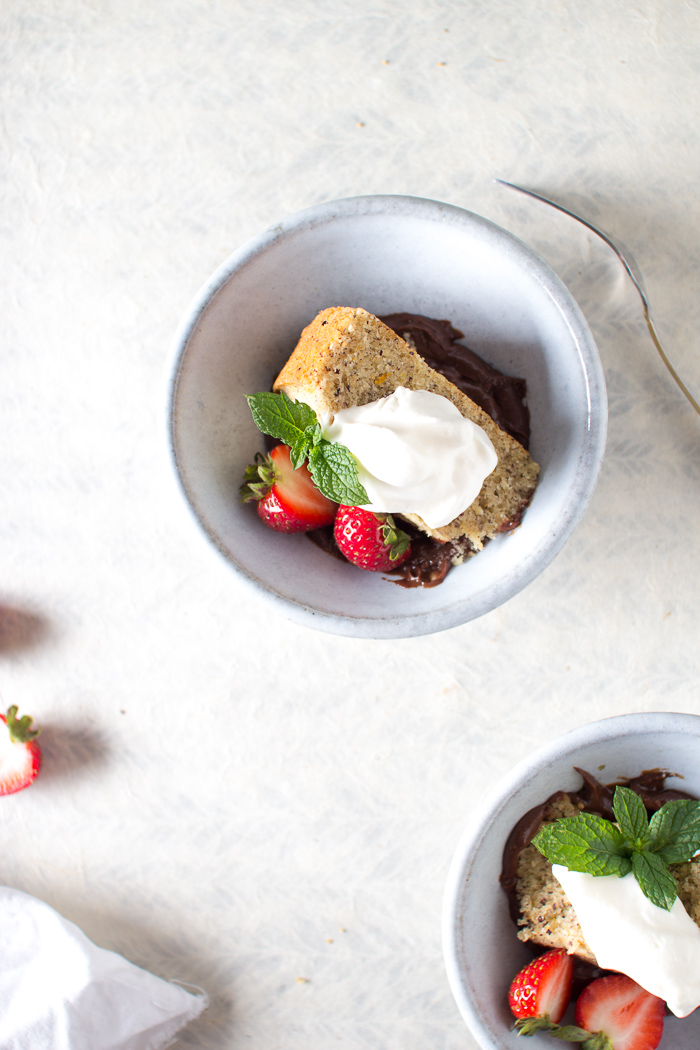 Hazelnut Cake with Fresh Mint Chocolate Pudding and a Creme Fraiche Whipped Cream