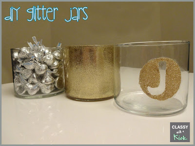 Glittered Containers from Old Candle Jars
