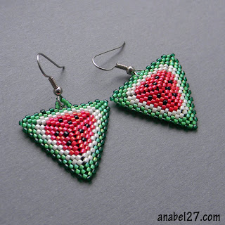 seed bead earrings beadeed jewelry peyote triangle watermelon