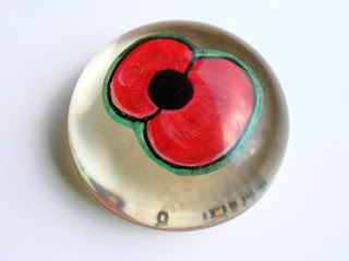 Custom made Poppy flower paperweight