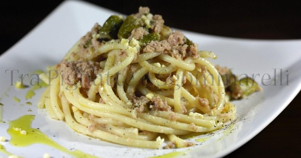 Le mie ricette bucatini tonno fresco e asparagi con granella di mandorle tra pignatte e - Cucinare tonno fresco in padella ...