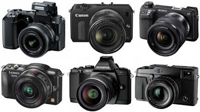 Various brands mirrorless camera, canon eos-m, panasonic g6, olympus pen, pentax k-01