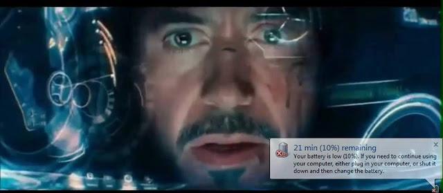 La armadura de Tony Stark sin batería
