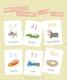 alfabeto português em cartões com figuras