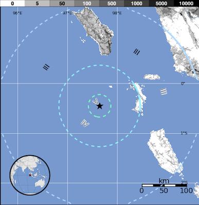 Epicentro sismo 5,7 grados en Sumatra, Indonesia